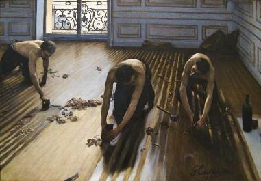 Gustave Caillebotte, Les Raboteurs de parquet, 1875, Óleo sobre lienzo. 102 × 146.5 cm. Musée d'Orsay, Paris.