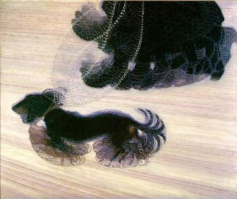 Giacomo Balla, Dinamismo di un cane al guinzaglio, Óleo sobre lienzo, 1912, 90x110 cm. Albright-Knox Art, Buffalo.