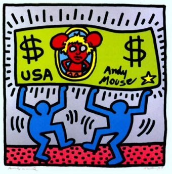 Keith Haring, Andy Mouse, 1986, 96.5 x 96.5 cm. Courtesy: The Keith Haring Foundation, NY.