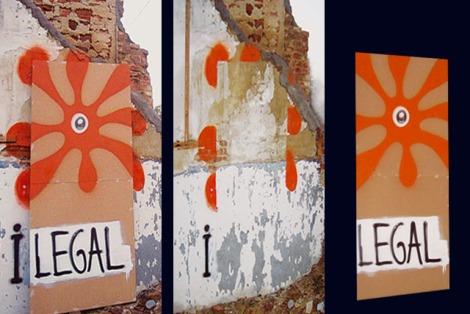"Obra "" i-legal"" de Suso33 con la ""plasta"" como icono principal."