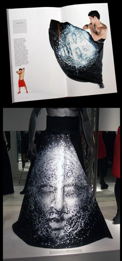 """Falda de Carlos Díez inspirada en obra de Suso33, para la exposición """"Hombres en falda""""."""
